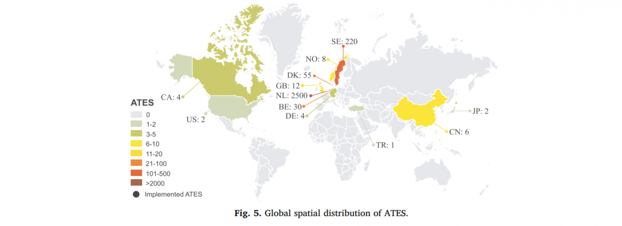 Distribution des ATES à travers le monde